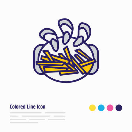Vector illustration of belgian mussels with fries icon colored line. Beautiful culinary element also can be used as appetizer icon element.
