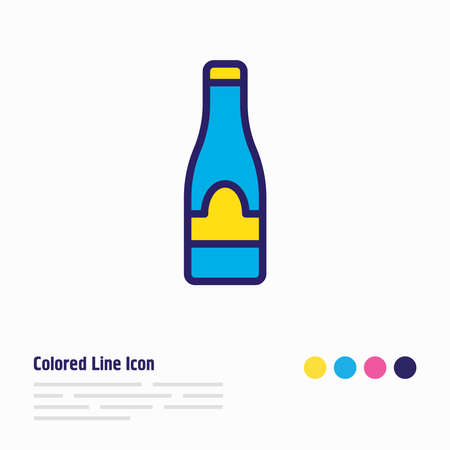 Vector illustration of champagne icon colored line. Beautiful cafe element also can be used as fizz icon element. Foto de archivo - 134761350