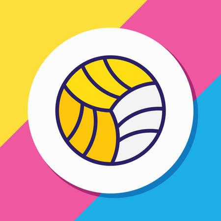 Vector illustration of volleyball ball icon colored line. Beautiful fitness element also can be used as game icon element.