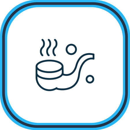 Vector illustration of smoking pipe icon line. Beautiful nautical element also can be used as tobacco icon element. Illusztráció