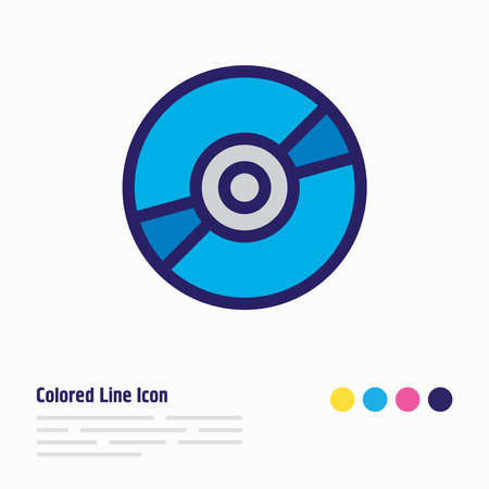 Vector illustration of cd icon colored line. Beautiful lifestyle element also can be used as compact disk icon element.
