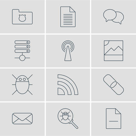 illustration of 12 web icons line style. Editable set of wifi, chat, delete document and other icon elements.