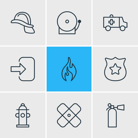 Vector illustration of 9 necessity icons line style. Editable set of helmet, extinguisher, police and other icon elements.