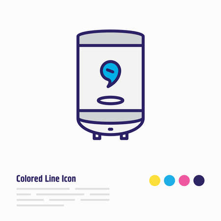 illustration of electric water heater icon colored line. Beautiful appliance element also can be used as geyser icon element.