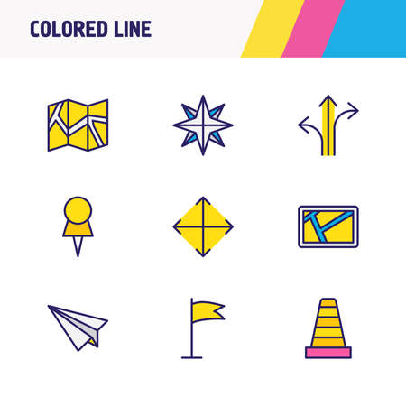 Vector illustration of 9 location icons colored line. Editable set of compass, navigator, pushpin and other icon elements.