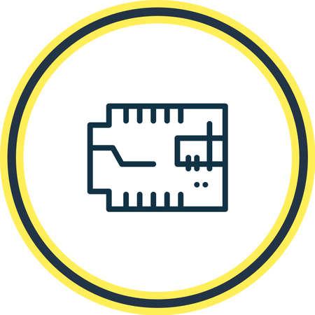 Illustration vectorielle de la ligne d'icône de microcircuit de voiture. Un bel élément de véhicule peut également être utilisé comme élément d'icône de microprocesseur.