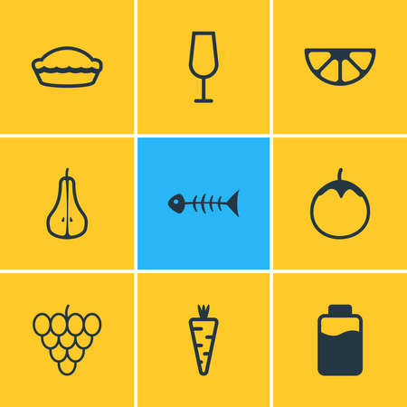 Vector illustration of 9 meal icons line style. Editable set of lactose, fishbone, love apple and other icon elements.