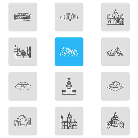 illustration of 12 culture icons line style. Editable set of newgrange, oxford university, stonehenge and other icon elements.