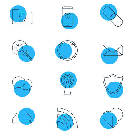 illustration of 12 network icons line style. Editable set of mail, reload, link and other icon elements. Stockfoto