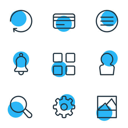 illustration of 9 annex icons line style. Editable set of image, thumbnails, search and other icon elements. 版權商用圖片