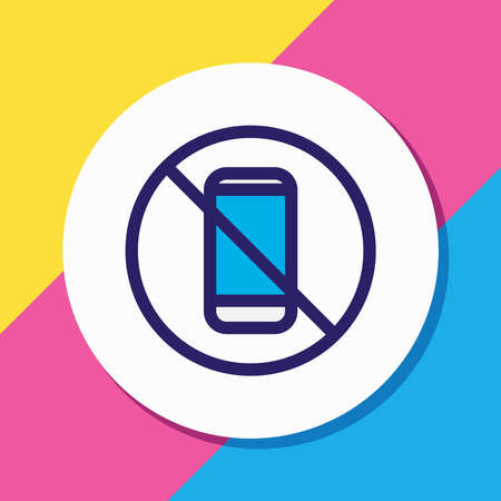 illustration of no phone icon colored line. Beautiful telephone element also can be used as forbidden icon element.
