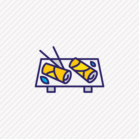 Vector illustration of vietnamese spring rolls icon colored line. Beautiful culinary element also can be used as dieting icon element.