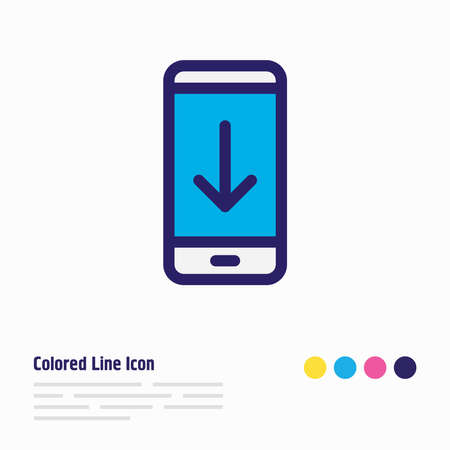 Vector illustration of download icon colored line. Beautiful smartphone element also can be used as archiving icon element.