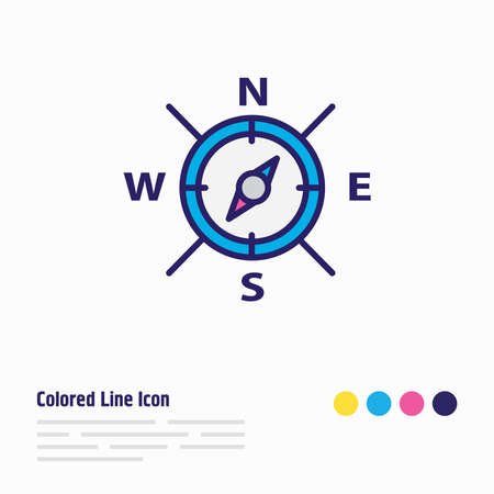 Vector illustration of compass icon colored line. Beautiful nautical element also can be used as navigation icon element.