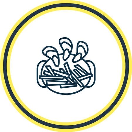Vector illustration of belgian mussels with fries icon line. Beautiful international food element also can be used as appetizer icon element.