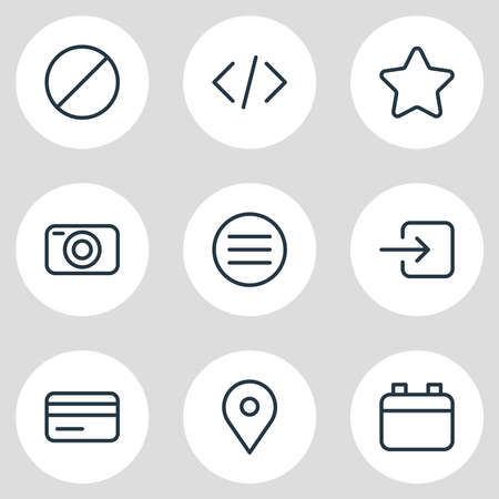 Vector illustration of 9 annex icons line style. Editable set of credit card, menu, calendar and other icon elements.
