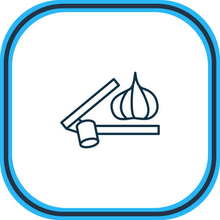 Vector illustration of garlic press icon line. Beautiful cutlery element also can be used as instrument icon element.