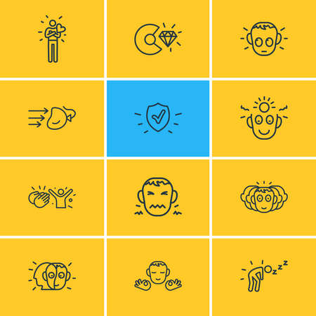 Vector illustration of 12 emoji icons line style. Editable set of disgust, protection, gratitude and other icon elements. Stock Illustratie