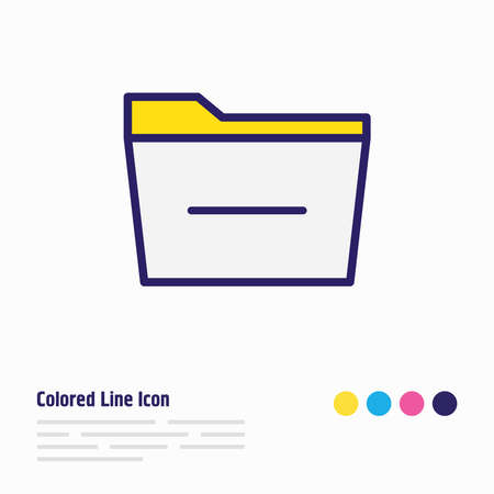 Vector illustration of remove folder icon colored line. Beautiful bureau element also can be used as delete icon element. Ilustração