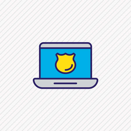 Vector illustration of antivirus icon colored line. Beautiful data element also can be used as laptop safety icon element.