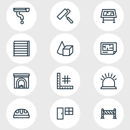Vector illustration of 12 architecture icons line style. Editable set of painting, plan, gutter and other icon elements.