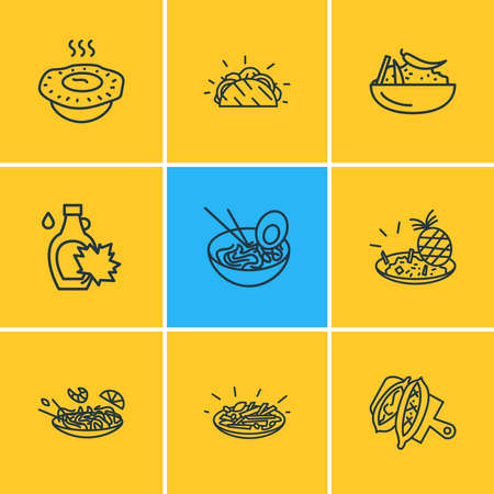Vector illustration of 9 world cuisine icons line style. Editable set of moroccan couscous, turkish pide, japanese ramen and other icon elements.