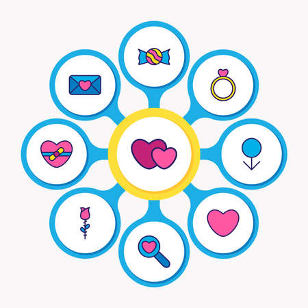 Vector illustration of 9 amour icons colored line. Editable set of candy, ring, find love icon elements.