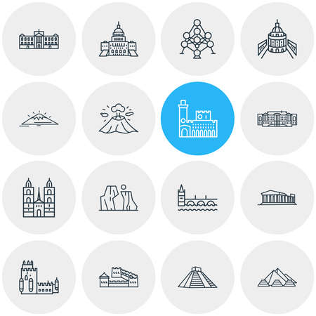 Vector illustration of 16 world landmarks icons line style. Editable set of great wall of china, the grand canyon icon elements. Vectores