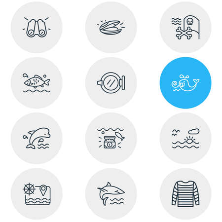 Vector illustration of 12 nautical icons line style. Editable set of ship window, mussel, sunset in the sea and other icon elements.