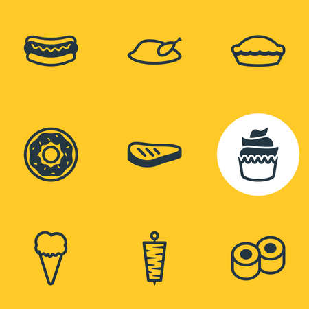 Vector illustration of 9 eating icons line style. Editable set of little cake, donuts, sushi and other icon elements.