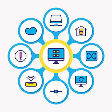 Vector illustration of 9 network icons colored line. Editable set of root server, cloud storage, voip gateway and other icon elements. Illusztráció