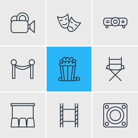 illustration of 9 cinema icons line style. Editable set of video, cinema reel, projector and other icon elements.