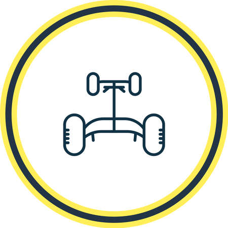 Vector illustration of car chassis icon line. Beautiful details element also can be used as automobile rocker icon element. Ilustração