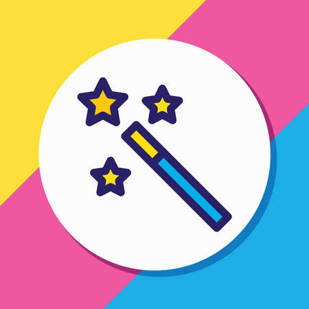 Vector illustration of magic wand icon colored line. Beautiful entertainment element also can be used as magician trick icon element. Vectores