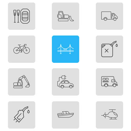 Vector illustration of 12 transportation icons line style. Editable set of bridge, gas can, rubber boat and other icon elements.