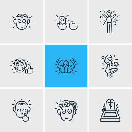 Vector illustration of 9 emoticon icons line style. Editable set of paranoid, satisfied, death and other icon elements. 矢量图像