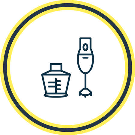 Vector illustration of hand blender icon line. Beautiful appliance element also can be used as mixing icon element.