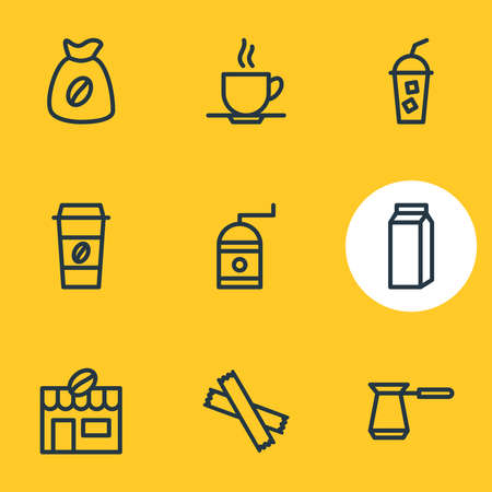 Vector illustration of 9 drink icons line style. Editable set of pocket milk, cold drink, mocha grinder and other icon elements.