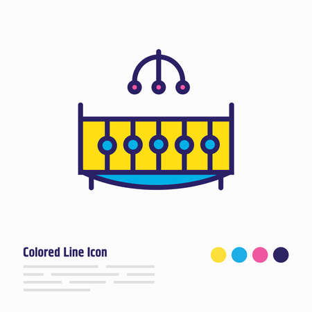 illustration of crib icon colored line. Beautiful vacation element also can be used as cot icon element.