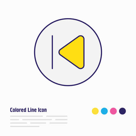 illustration of previous icon colored line. Beautiful melody element also can be used as backward icon element.