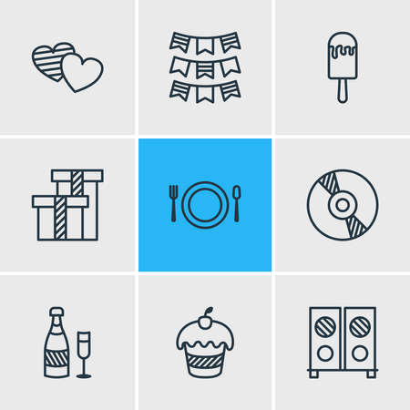 illustration of 9 party icons line style. Editable set of gift box, dish, ice cream and other icon elements.