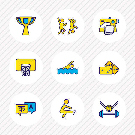 Vector illustration of 9 activities icons colored line. Editable set of skating, languages, award cup and other icon elements.