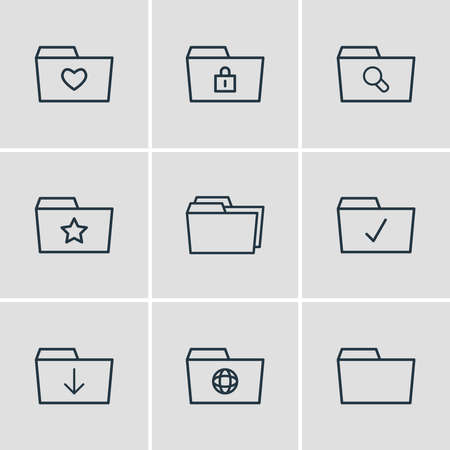 illustration of 9 folder icons line style. Editable set of starred, checked, locked and other icon elements.