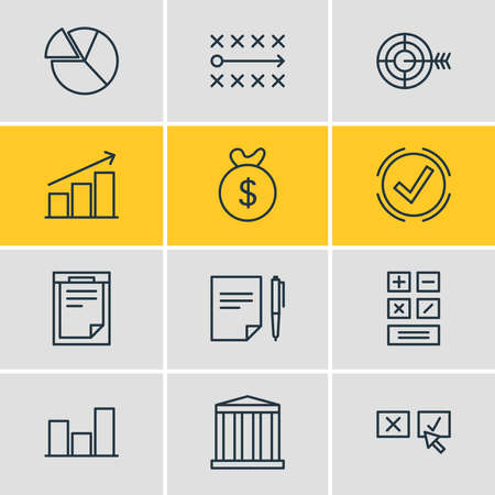 illustration of 12 trade icons line style. Editable set of chart, moneybox, bar and other icon elements.