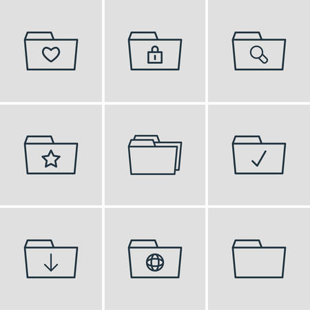 Vector illustration of 9 dossier icons line style. Editable set of starred, checked, locked and other icon elements.