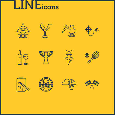 illustration of 12 lifestyle icons line style. Editable set of wine bottle, hot air balloon, tennis and other icon elements.