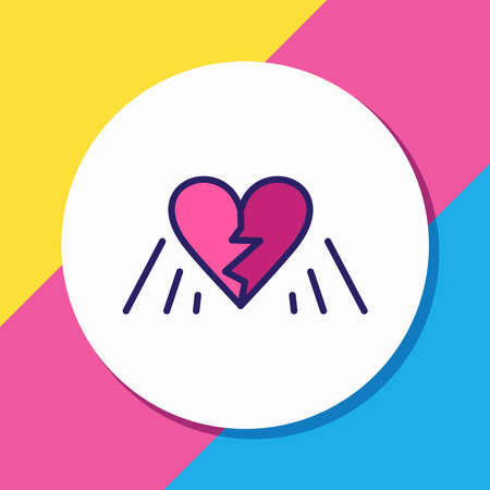 Vector illustration of broken heart icon colored line. Beautiful emoji element also can be used as divorce icon element.