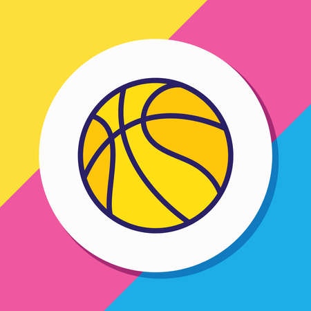 illustration of basketball icon colored line. Beautiful hotel element also can be used as ball icon element.