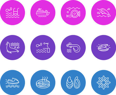 illustration of 12 maritime icons line style. Editable set of diving board, fish steak, ship rudder and other icon elements. 版權商用圖片