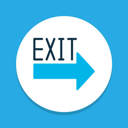 Exit sign icon colored symbol. Premium quality isolated escape element in trendy style.